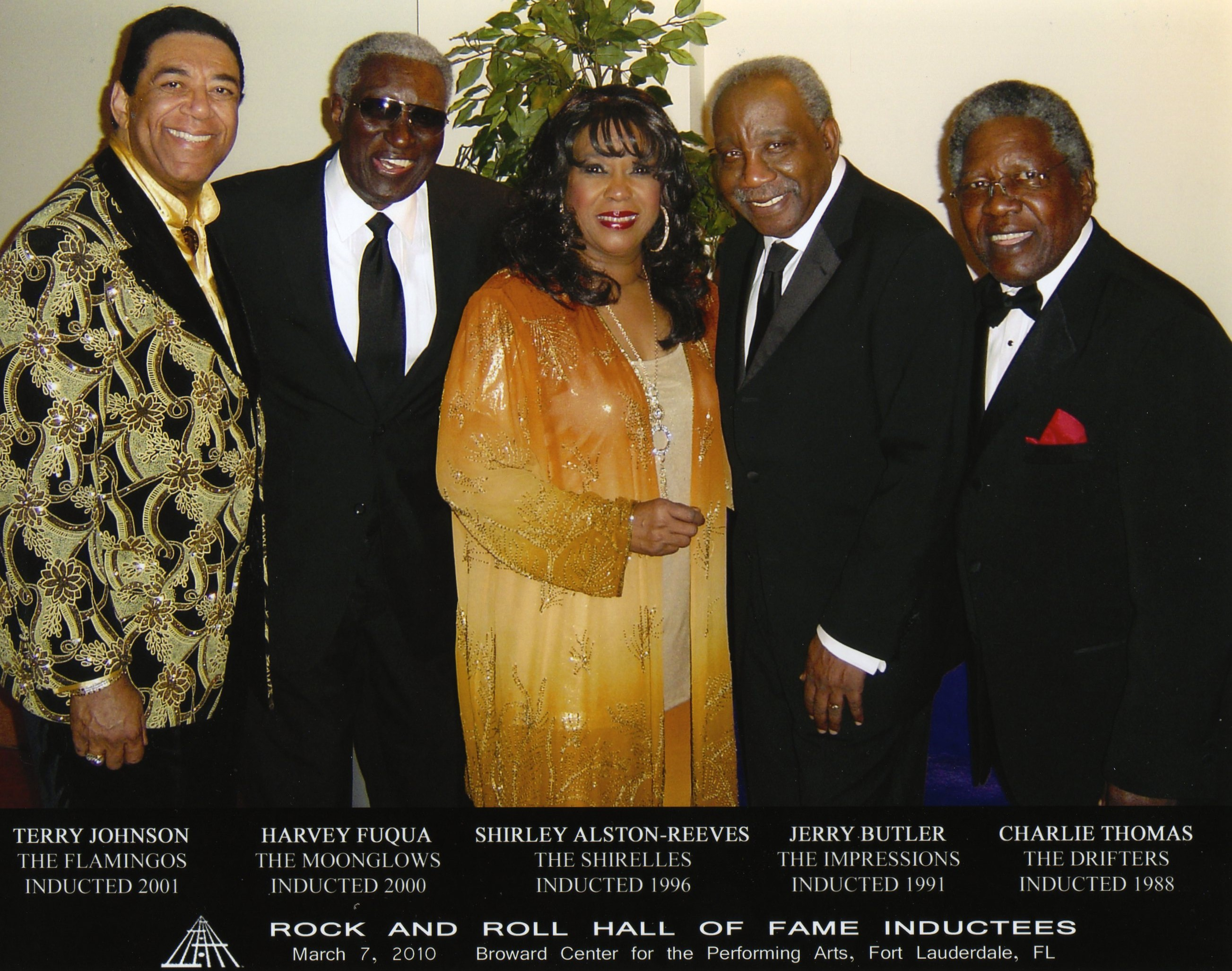 Rock & Roll Hall of Famers: Terry Johnson, Harvey Fuqua, Shirley Alston-Reeves, Jerry Butler, Charlie Thomas. (Photo by Joe Mirrione)