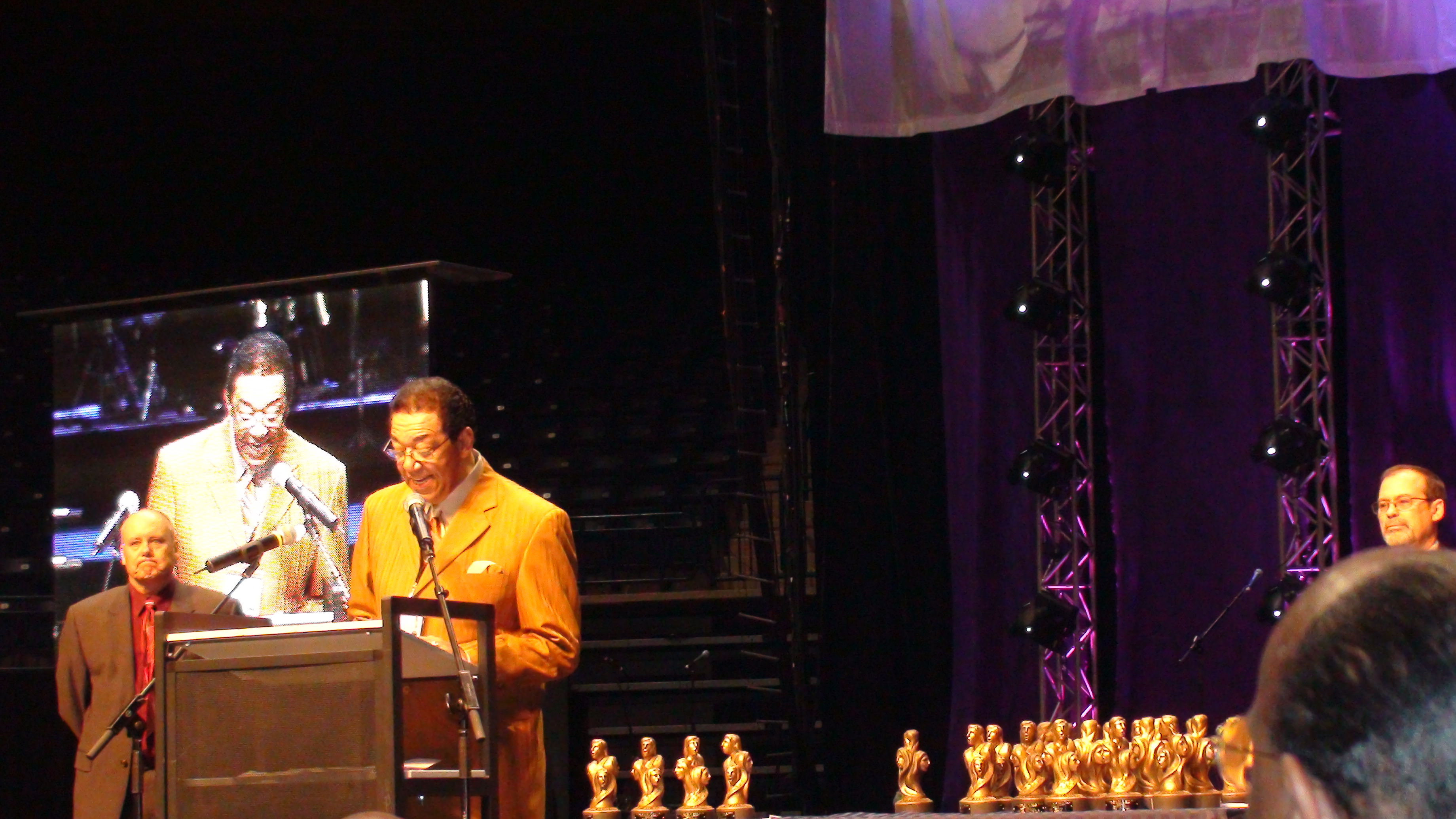 Terry inducting Sam Moore of Sam & Dave into the Vocal Group Hall of Fame